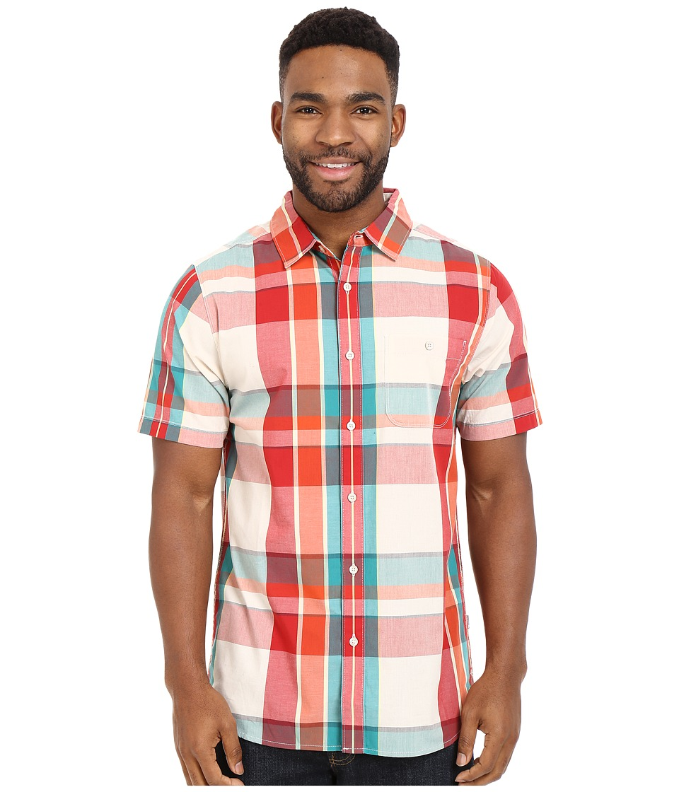 The North Face - Short Sleeve Exploded Plaid Shirt (TNF White/Pompeian Red Plaid) Men's Short Sleeve Button Up