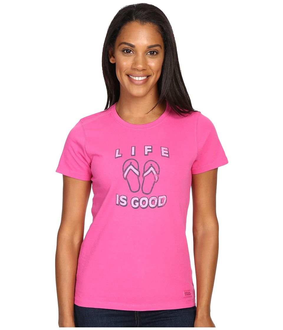 Life is good Flip Flops Crusher Tee (Bold Pink) Women