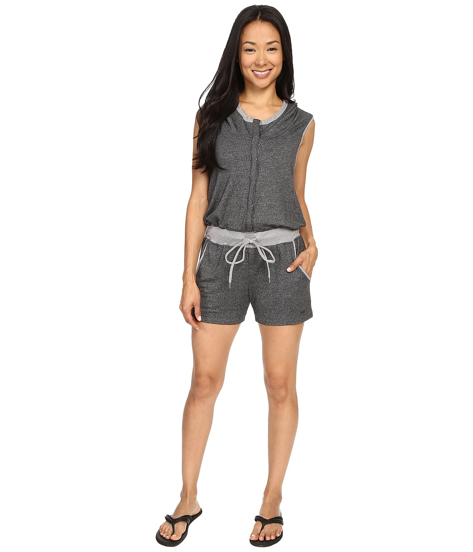 Zobha - Sleeveless Hoodie Jumper w/ Open Cross Back (Heather Black) Women's Jumpsuit & Rompers One Piece