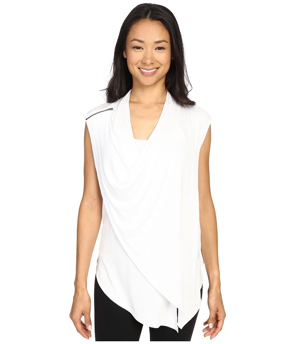 Zobha - Sleeveless Asymmetrical Drape Front Flyaway (Bright White) Women's Sleeveless