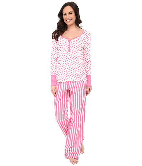 Betsey Johnson - Henley and Pants Set (Mad Hatter Stripe Betsey Pink/Sketchy Dot) Women