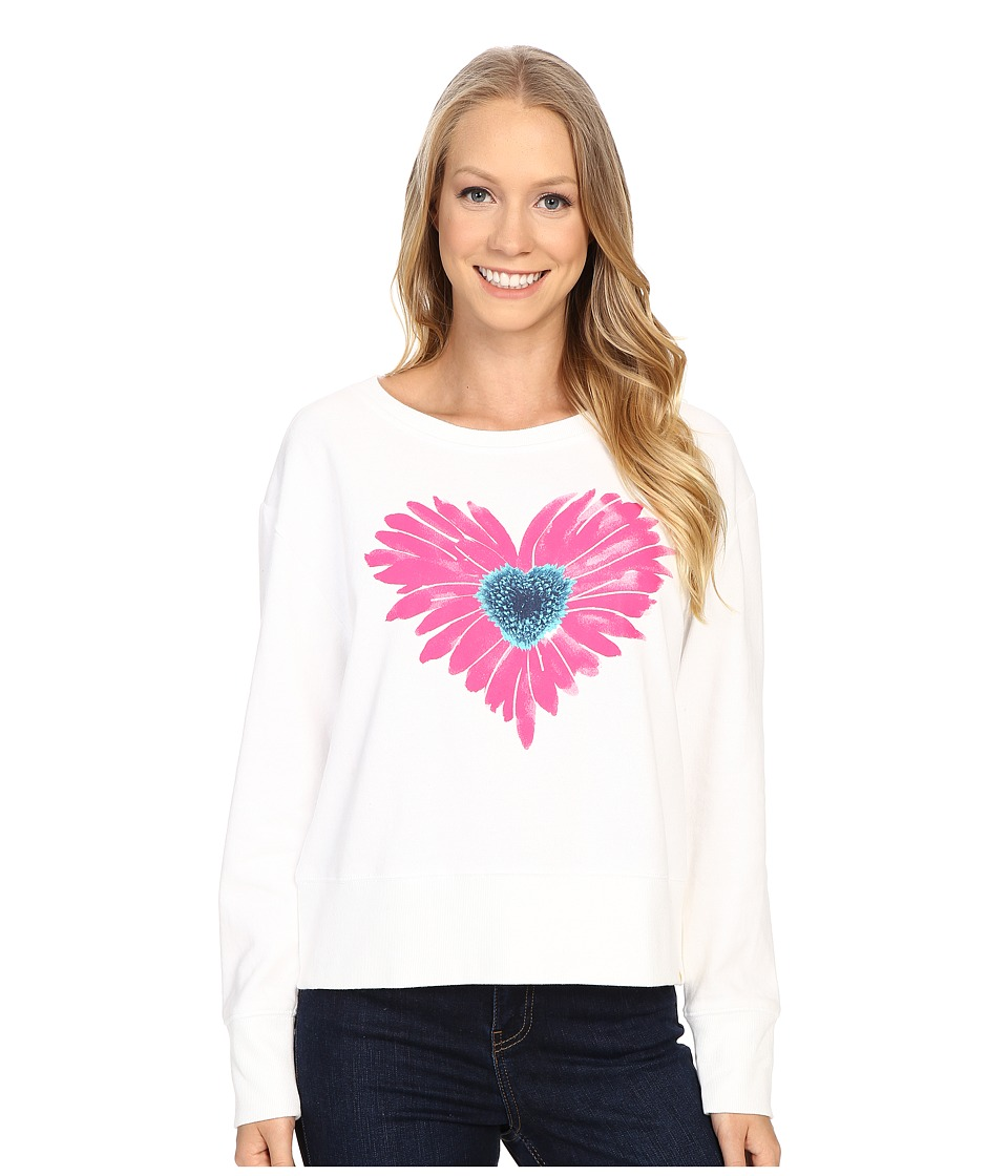 Life is good - Water Color Daisy Go-To Crew (Cloud White) Women's Long Sleeve Pullover