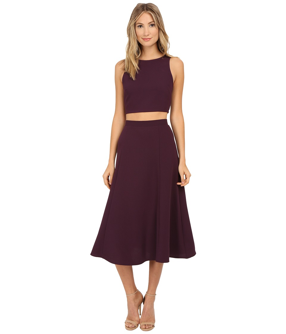 Brigitte Bailey - Constance Crop Tank Top and Mid-Length Skirt Set (Eggplant) Women's Active Sets