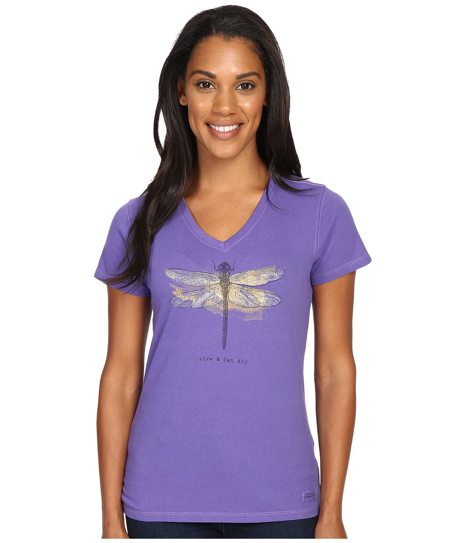 Life is good - Engraved Let It Fly Dragonfly Crusher Vee (Blue Violet) Women's T Shirt