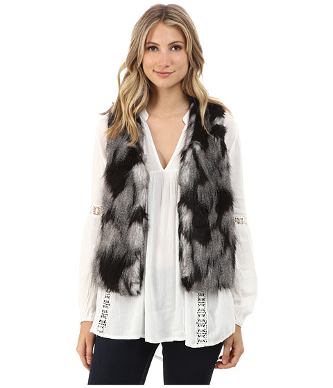 Brigitte Bailey - Rosalind Two-Tone Faux Fur Vest (Grey) Women