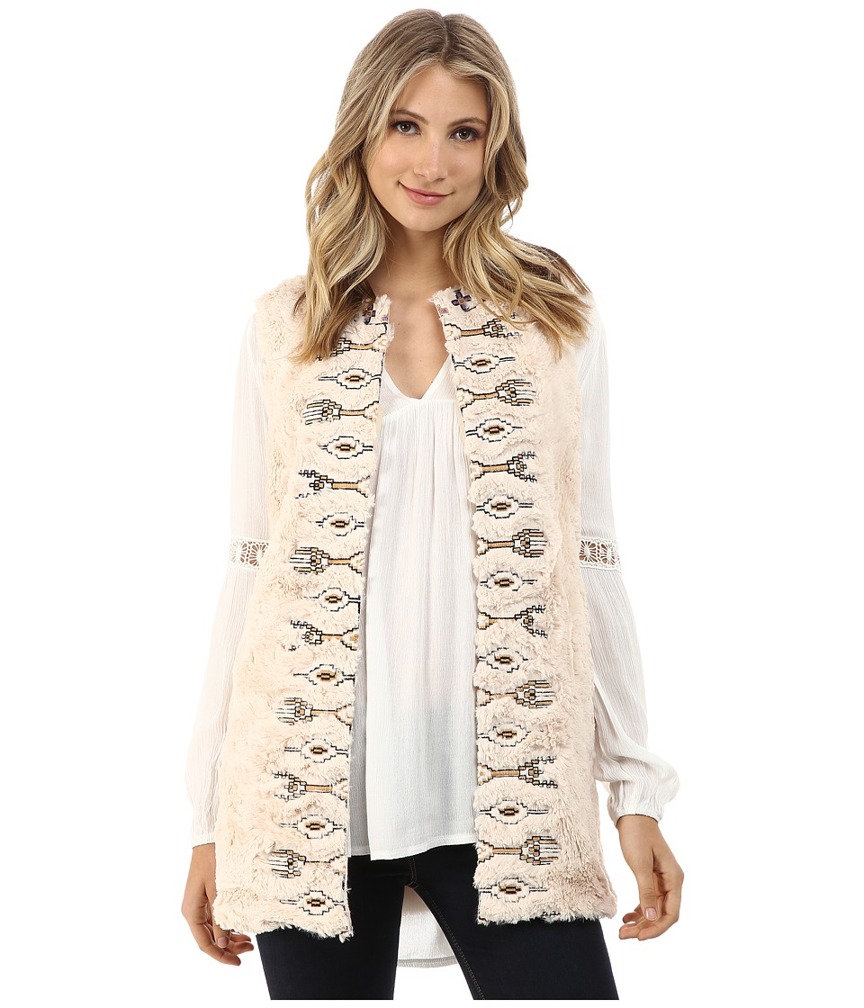Brigitte Bailey - Ivana Embroidered Faux Fur Vest (Cream) Women's Vest