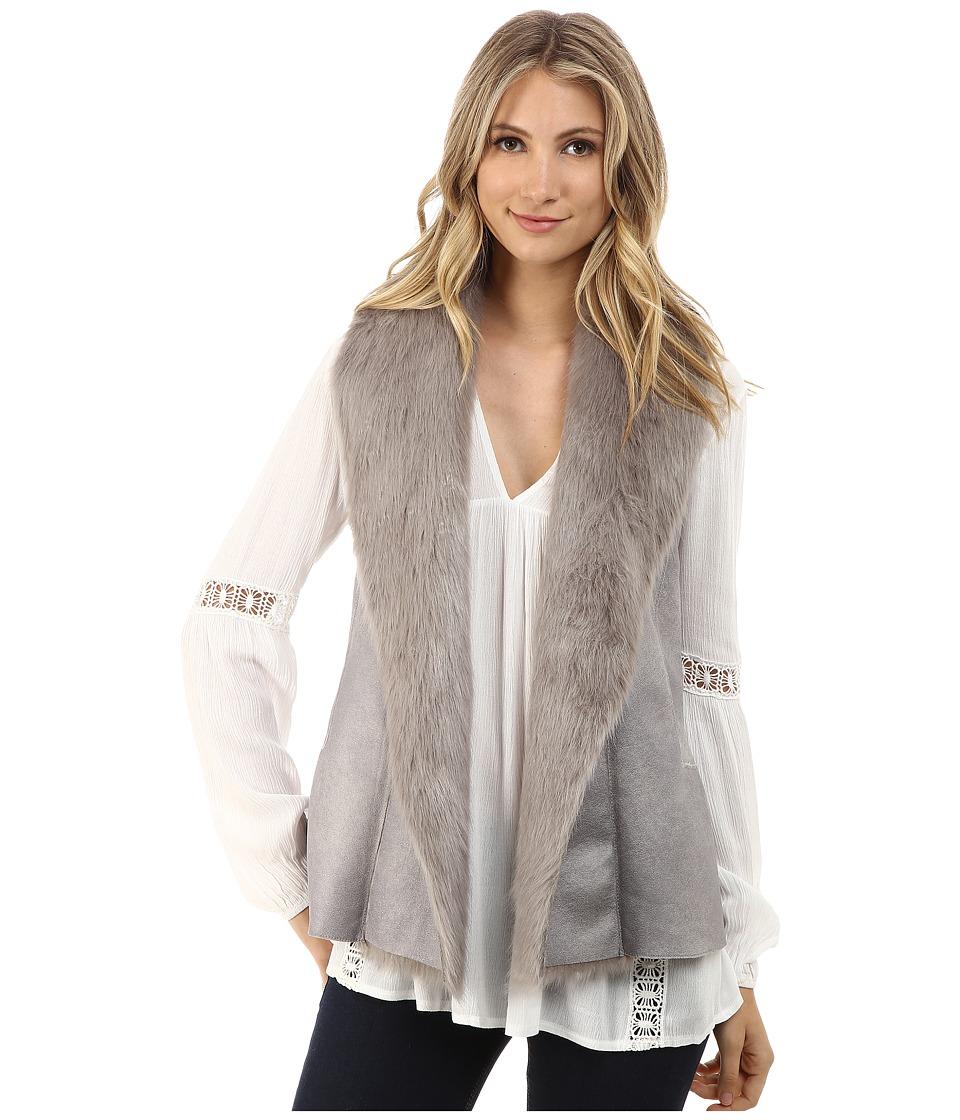 Brigitte Bailey - Marcella Suede Vest w/ Faux Fur (Silver) Women's Vest