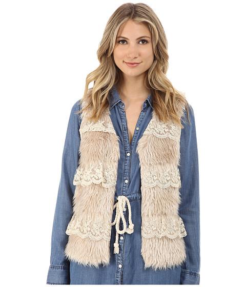 Brigitte Bailey - Robin Faux Fur Vest w/ Lace (Taupe) Women