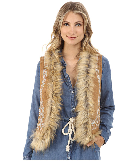 Brigitte Bailey - Keely Embroidered Suede Vest w/ Faux Fur Trim (Camel) Women