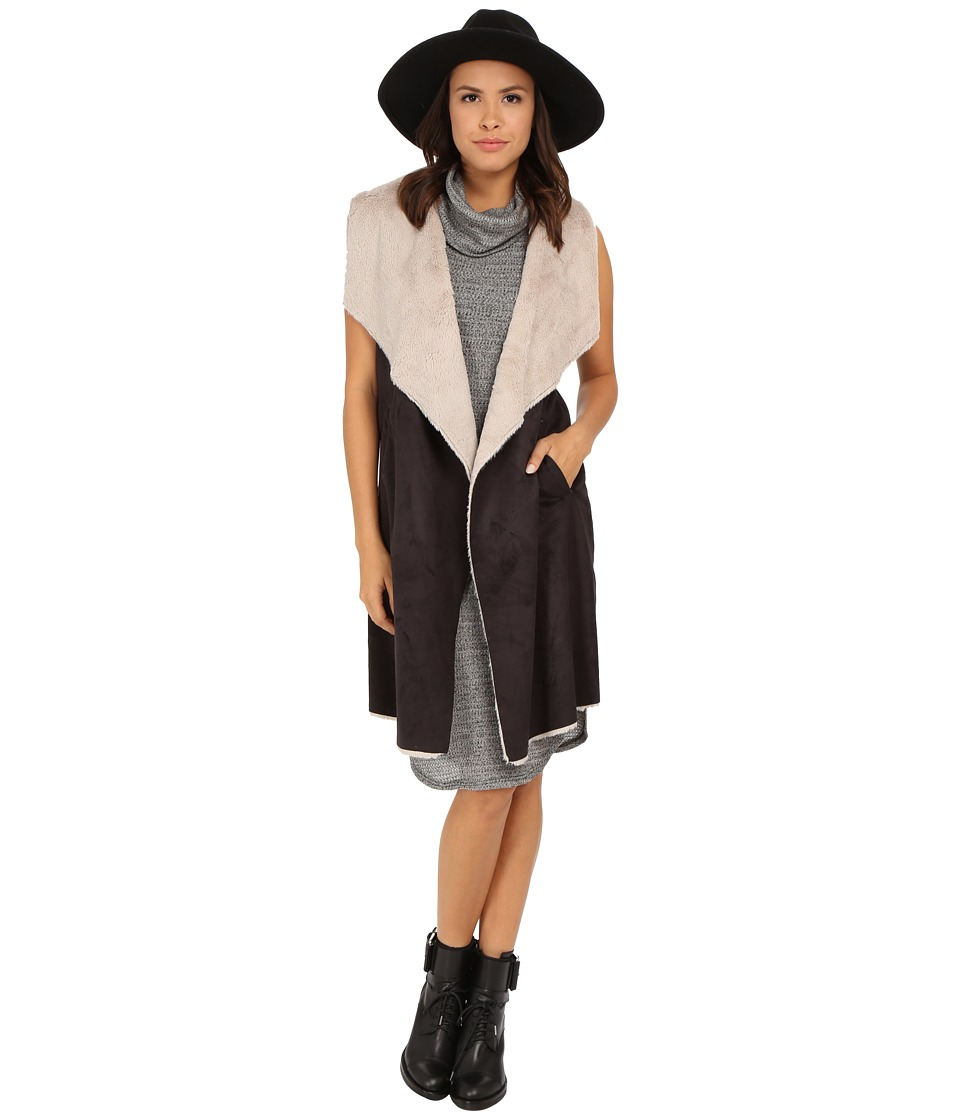 Brigitte Bailey - Marian Long Suede Vest w/ Faux Fur (Black/Cream) Women's Vest