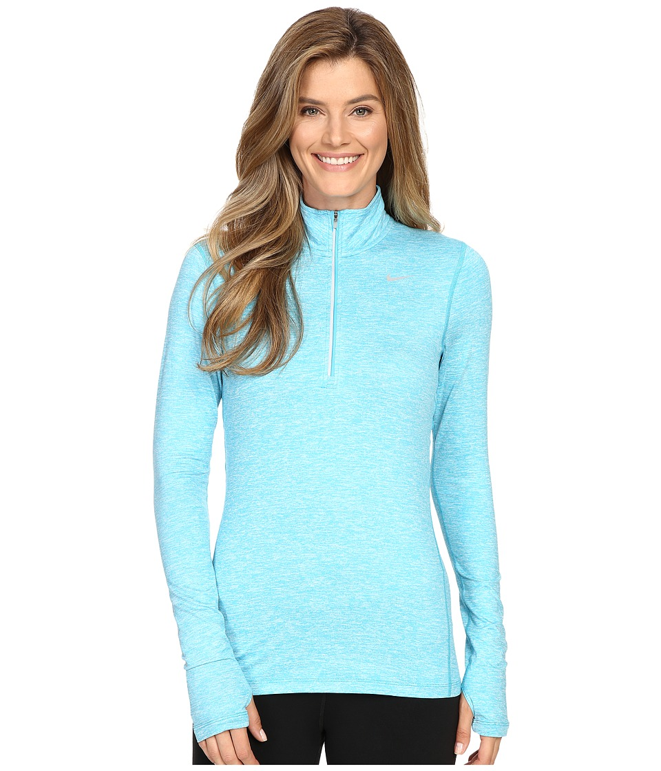 Nike - Dri-FIT Element Half Zip (Omega Blue/Heather/Reflective Silver) Women's Long Sleeve Pullover