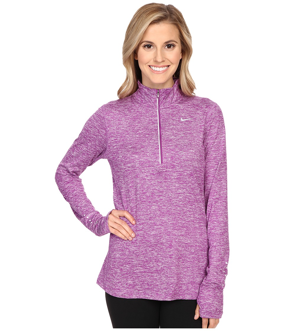 Nike - Dri-FIT Element Half Zip (Cosmic Purple/Heather/Reflective Silver) Women's Long Sleeve Pullover