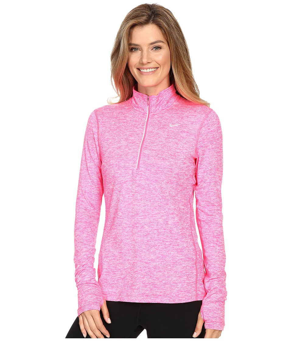 Nike - Dri-FIT Element Half Zip (Hyper Pink/Heather/Reflective Silver) Women's Long Sleeve Pullover