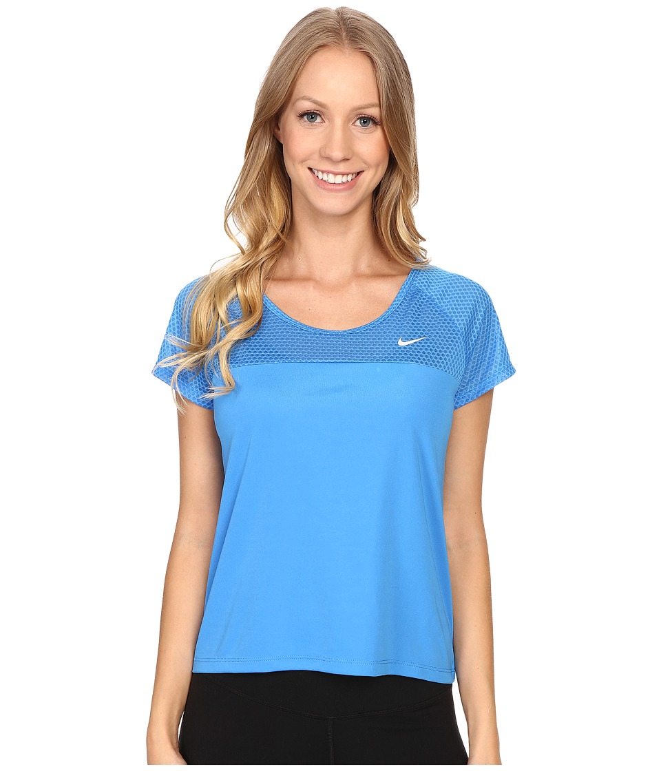 Nike - Run Fast Running Top (Light Photo Blue/Reflective Silver) Women's Short Sleeve Pullover