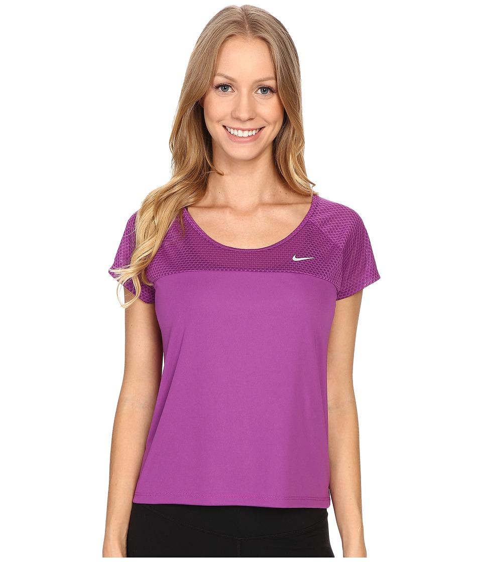 Nike - Run Fast Running Top (Cosmic Purple/Reflective Silver) Women's Short Sleeve Pullover
