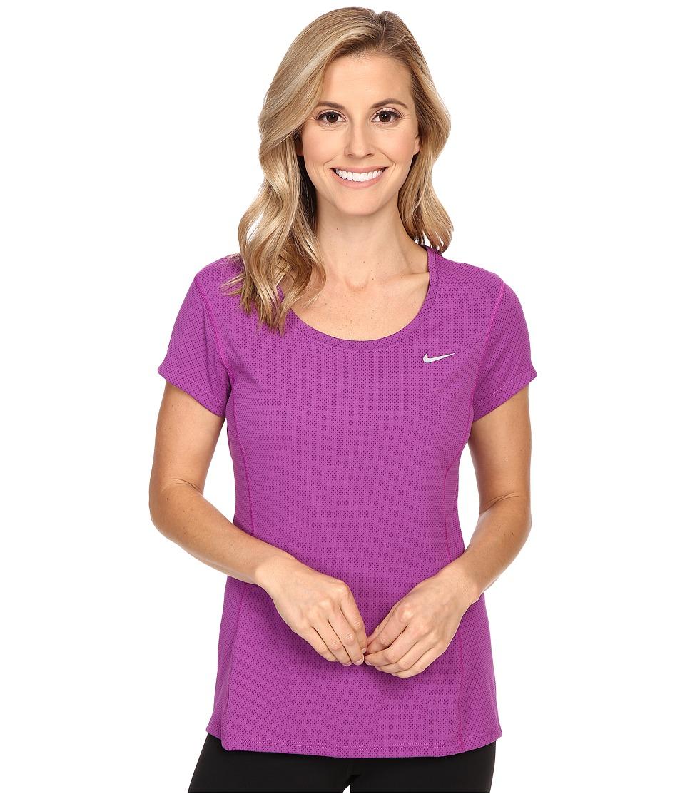 Nike - Dri-FIT Contour Short Sleeve (Cosmic Purple/Reflective Silver) Women's Short Sleeve Pullover