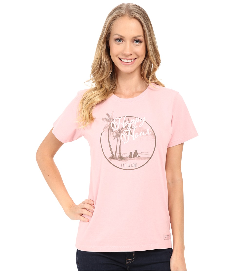 Life is good Watercolor Happy Hour Circle Crusher Tee (Dusty Pink) Women