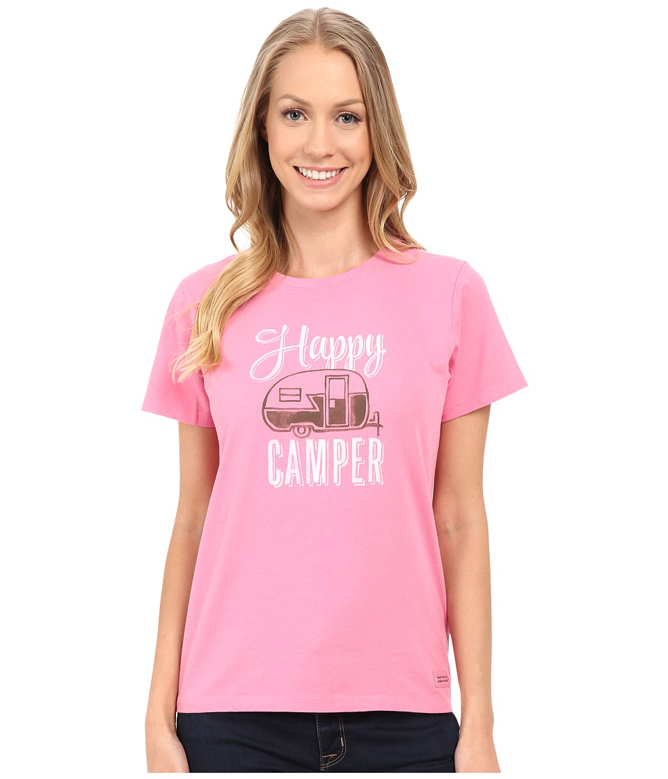 Life is Good Watercolor Happy Camper Crusher Tee (Rose Pink) Women