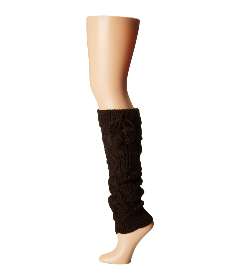 Steve Madden - Pompom Cable Leg Warmer (Chocolate) Women's Knee High Socks Shoes