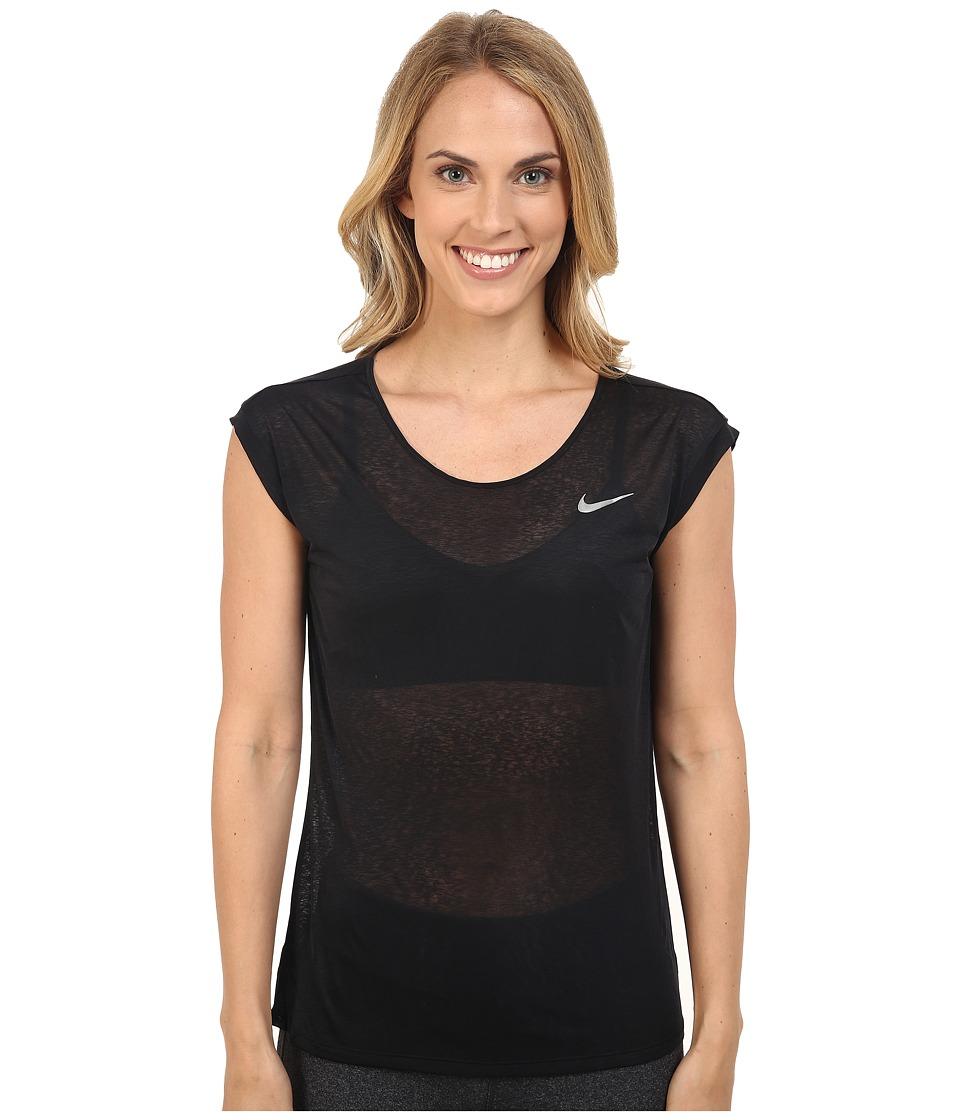 Nike - Dri-FITtm Cool Breeze Running Top (Black/Reflective Silver) Women's Short Sleeve Pullover