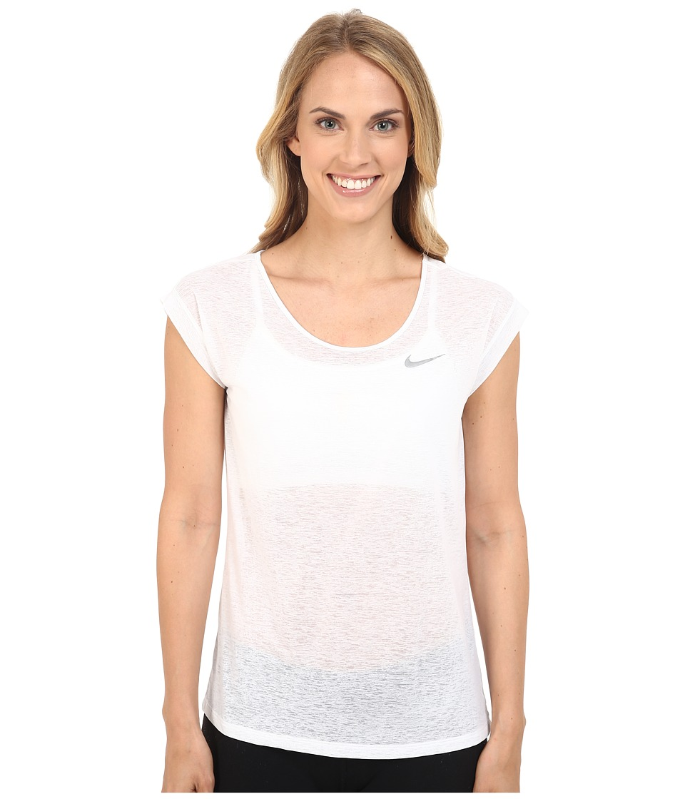 Nike - Dri-FIT Cool Breeze Running Top (White/Reflective Silver) Women's Short Sleeve Pullover