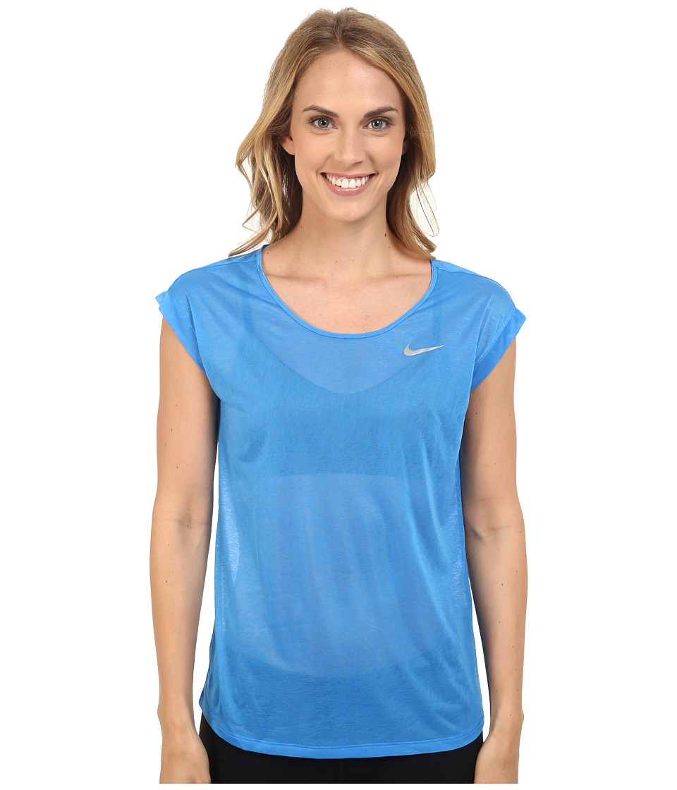 Nike - Dri-FIT Cool Breeze Running Top (Light Photo Blue/Reflective Silver) Women's Short Sleeve Pullover