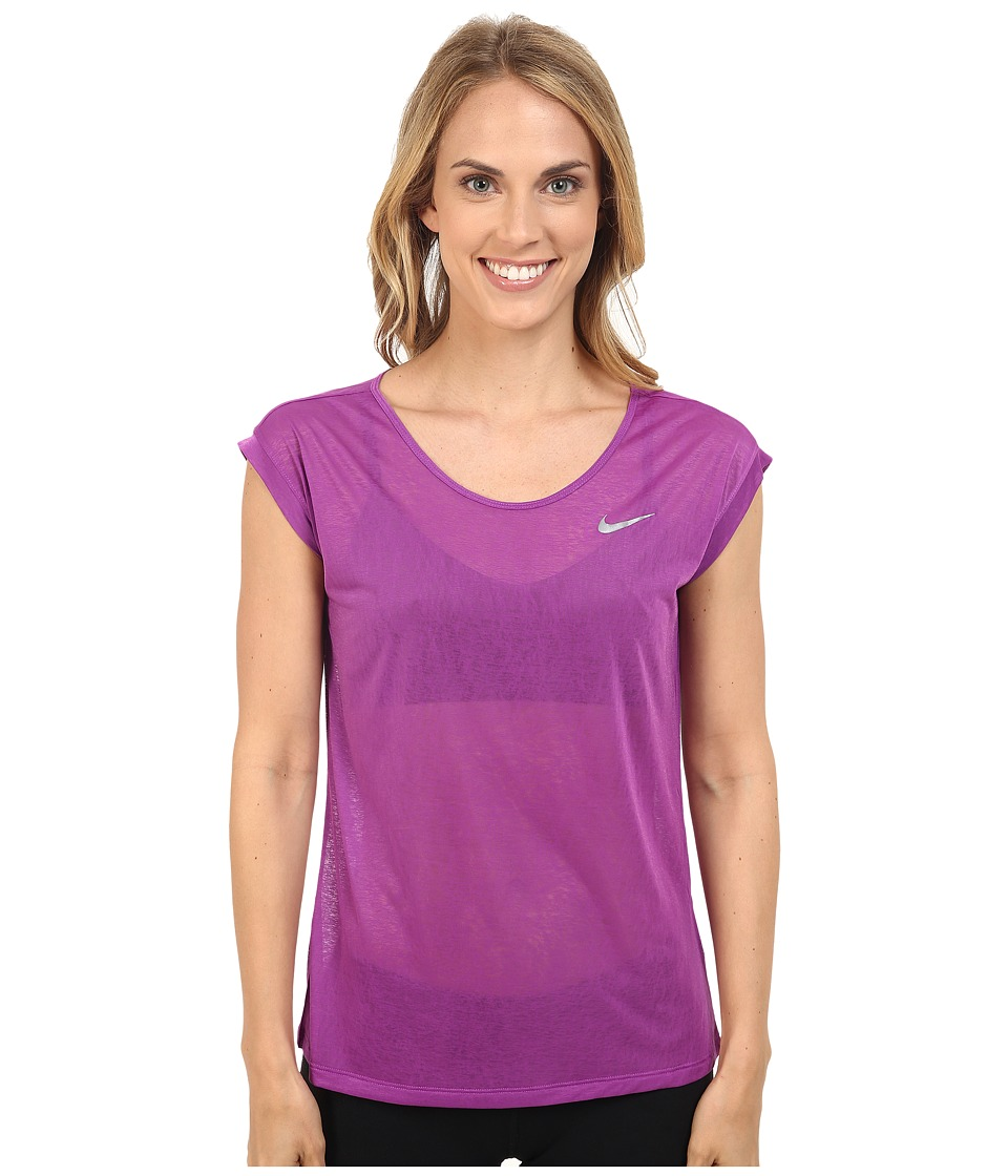 Nike - Dri-FIT Cool Breeze Running Top (Cosmic Purple/Reflective Silver) Women's Short Sleeve Pullover