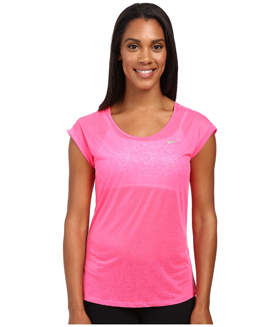 Nike - Dri-FIT Cool Breeze Running Top (Hyper PInk/Reflective Silver) Women's Short Sleeve Pullover