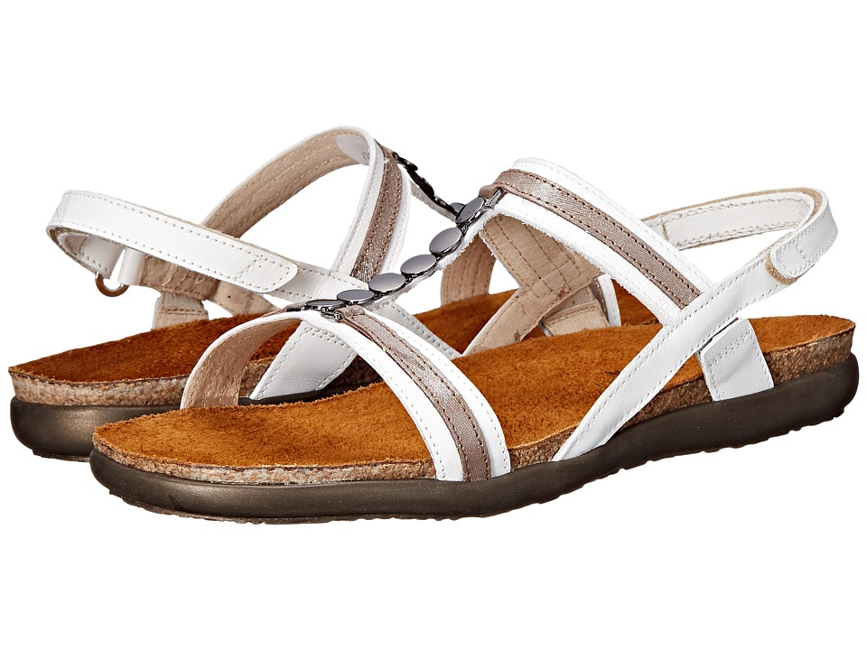 Naot Footwear - Valerie (White/Silver Threads Leather Combo) Women's Sandals
