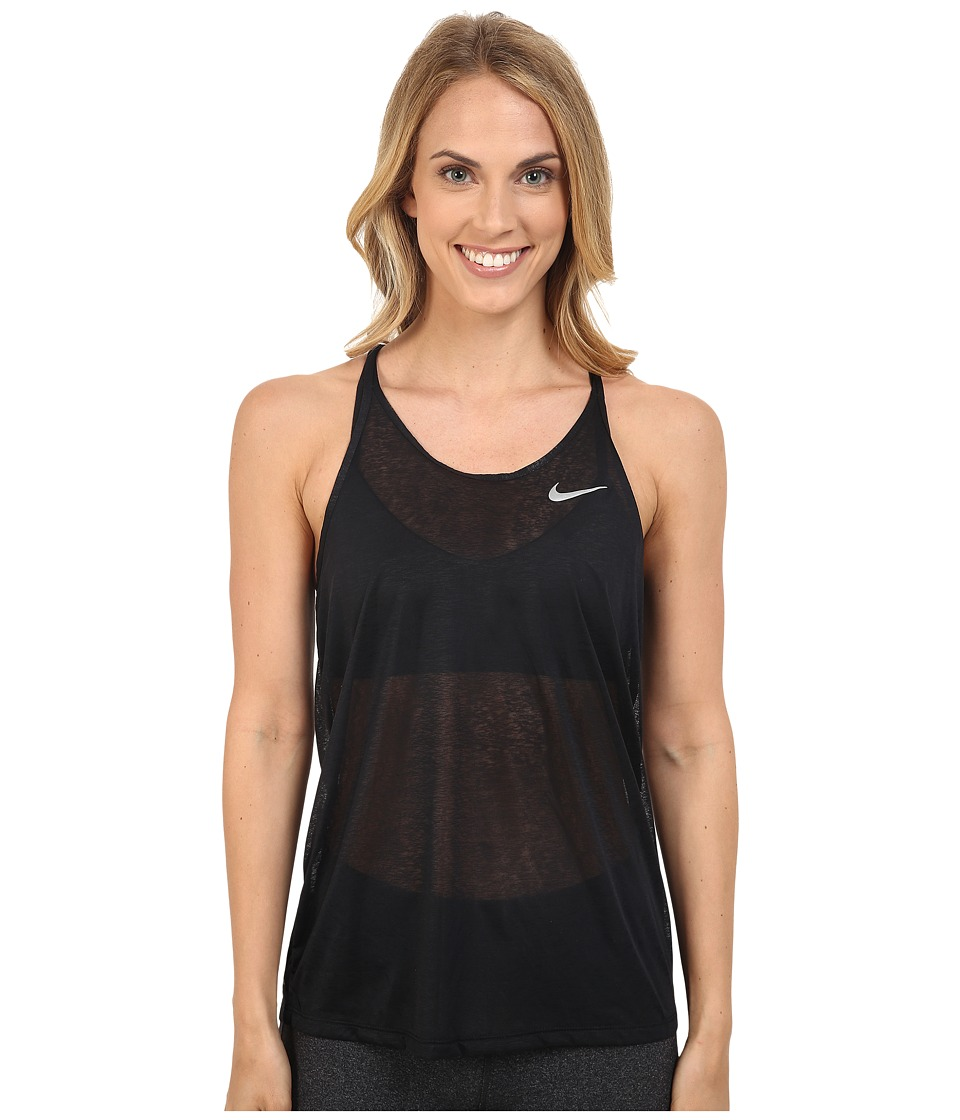Nike - Dri-FIT Cool Breeze Strappy Running Tank Top (Black/Reflective Silver) Women's Sleeveless