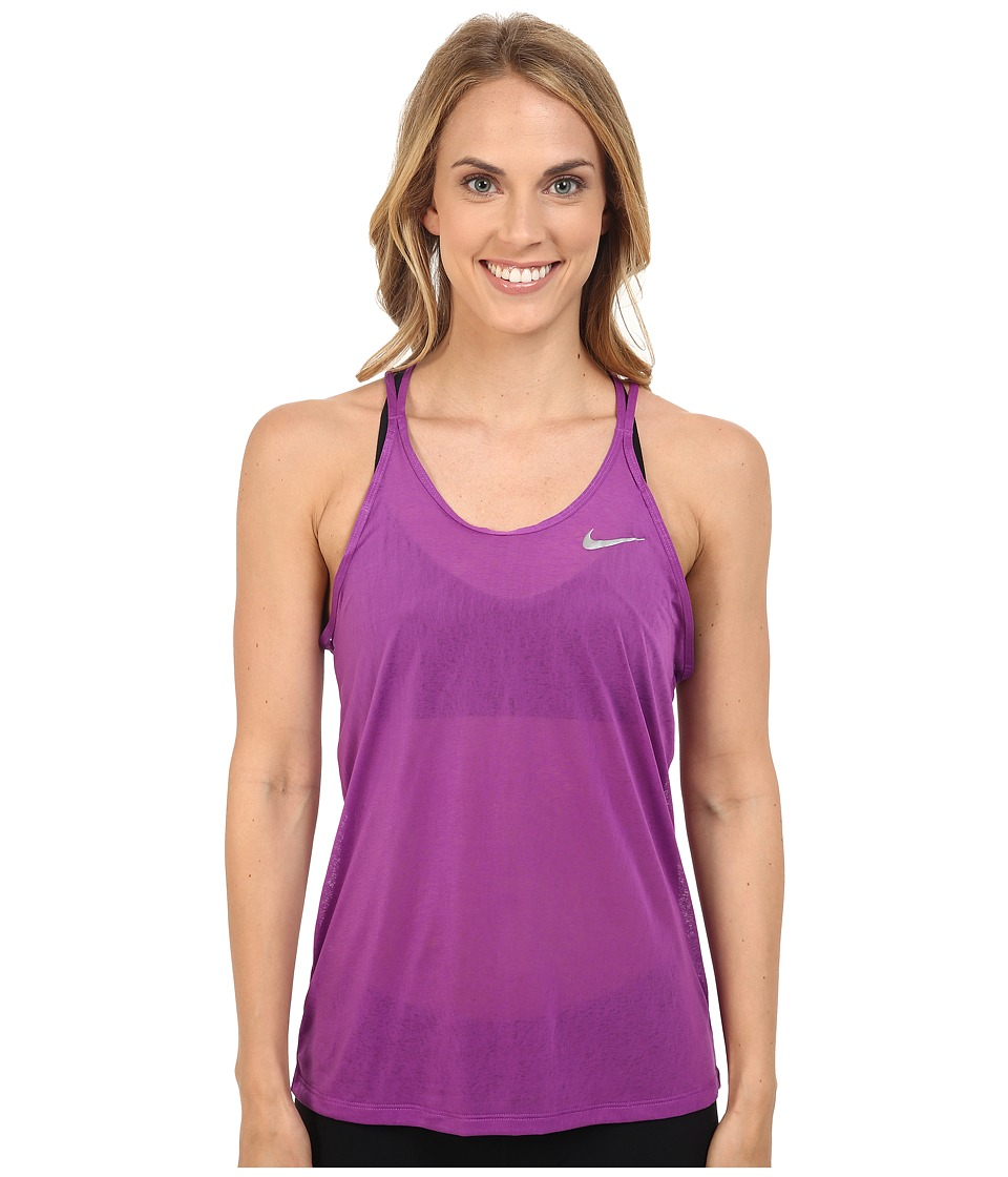 Nike - Dri-FIT Cool Breeze Strappy Running Tank Top (Cosmic Purple/Reflective Silver) Women's Sleeveless