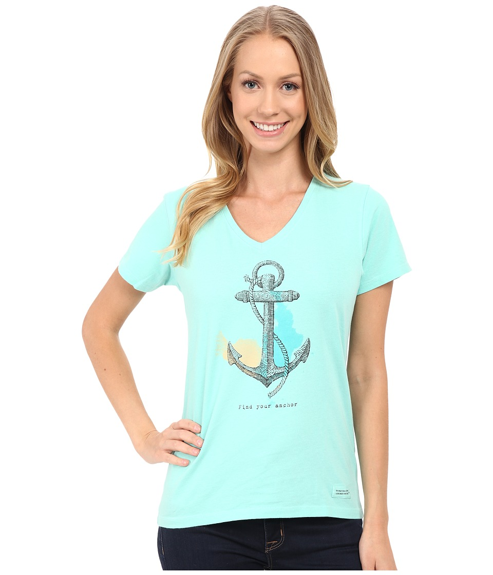 Life is good - Find Your Anchor Crusher Vee (Cool Aqua) Women's T Shirt