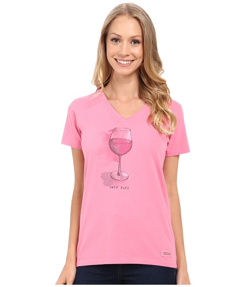 Life is Good - Half Full Wine Glass Crusher Vee (Rose Pink) Women's Short Sleeve Pullover