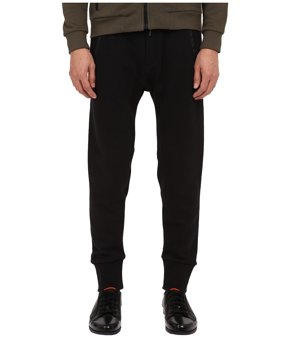 The Kooples - Sport Mix Cotton Fleece Nylon Pants (Black) Men's Casual Pants