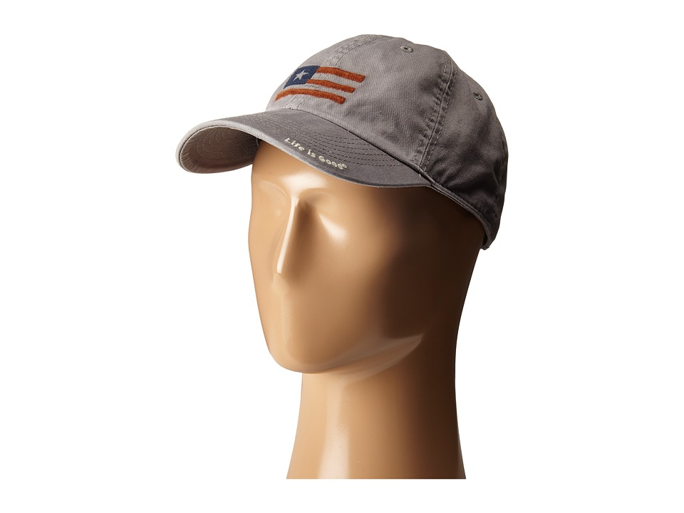 Life is good - USA Flag Chill Cap (Slate Gray) Baseball Caps