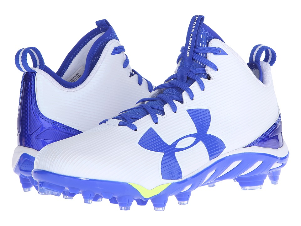 Under Armour - UA Spine Fierce MC (White/Team Royal) Men's Cleated Shoes