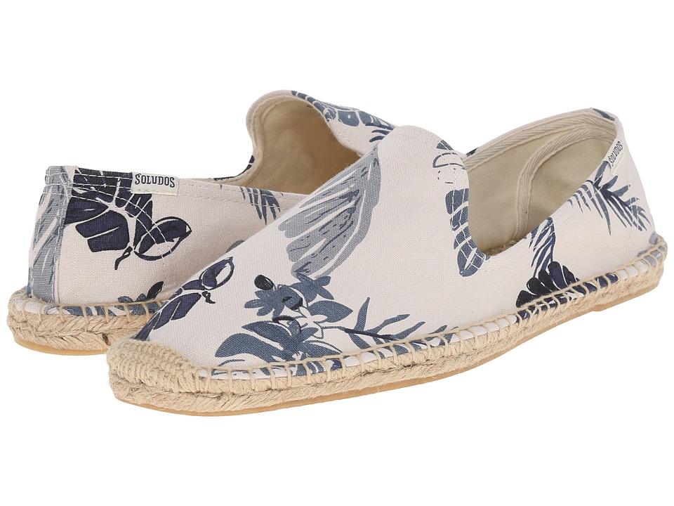 Soludos - Smoking Slipper Print (Tropical Print Natural Blue) Men