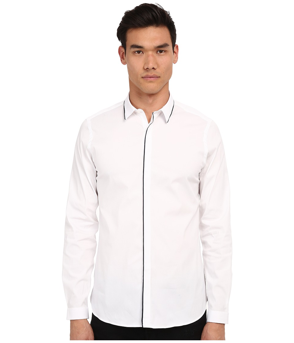 The Kooples - Paper Popeline Shirt (White 2) Men's Long Sleeve Button Up