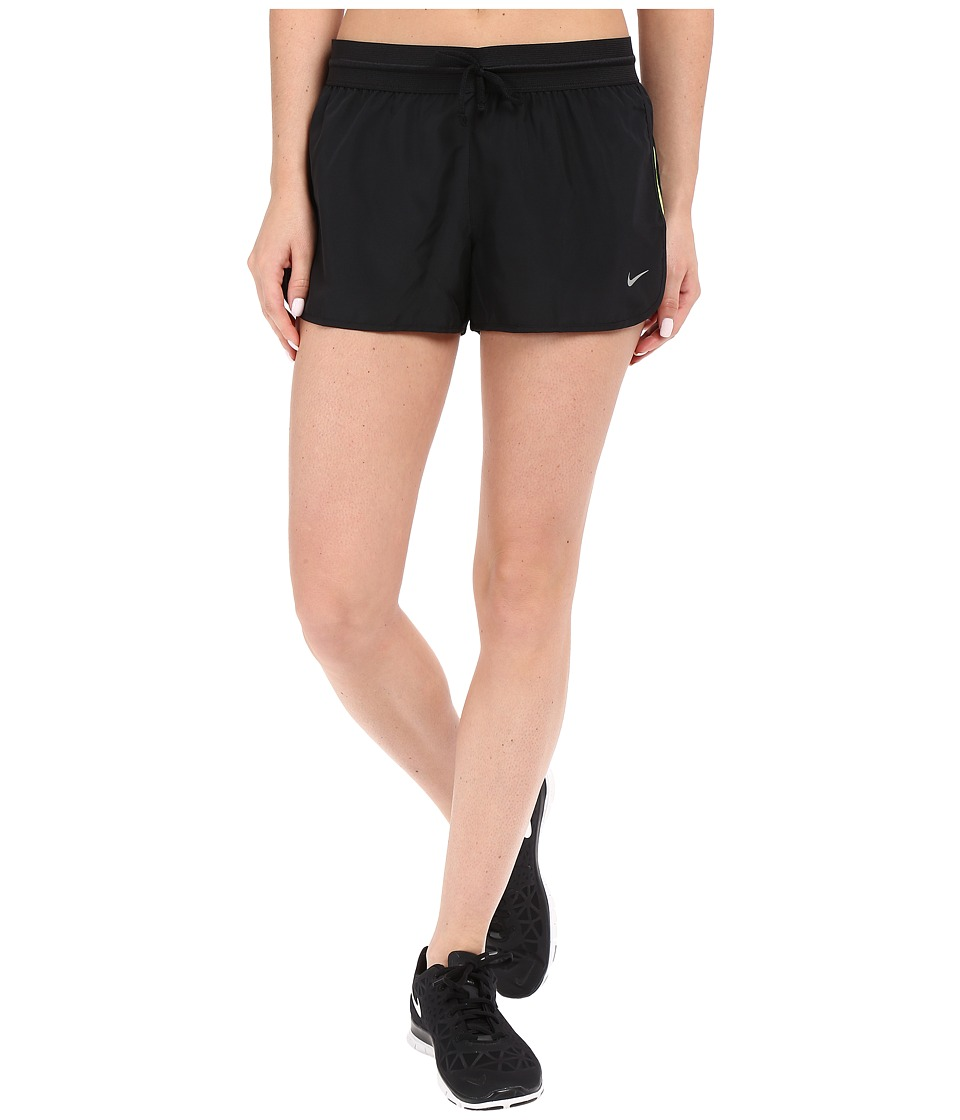 Nike - Run Fast Running Short (Black/Volt/Reflective Silver) Women's Shorts
