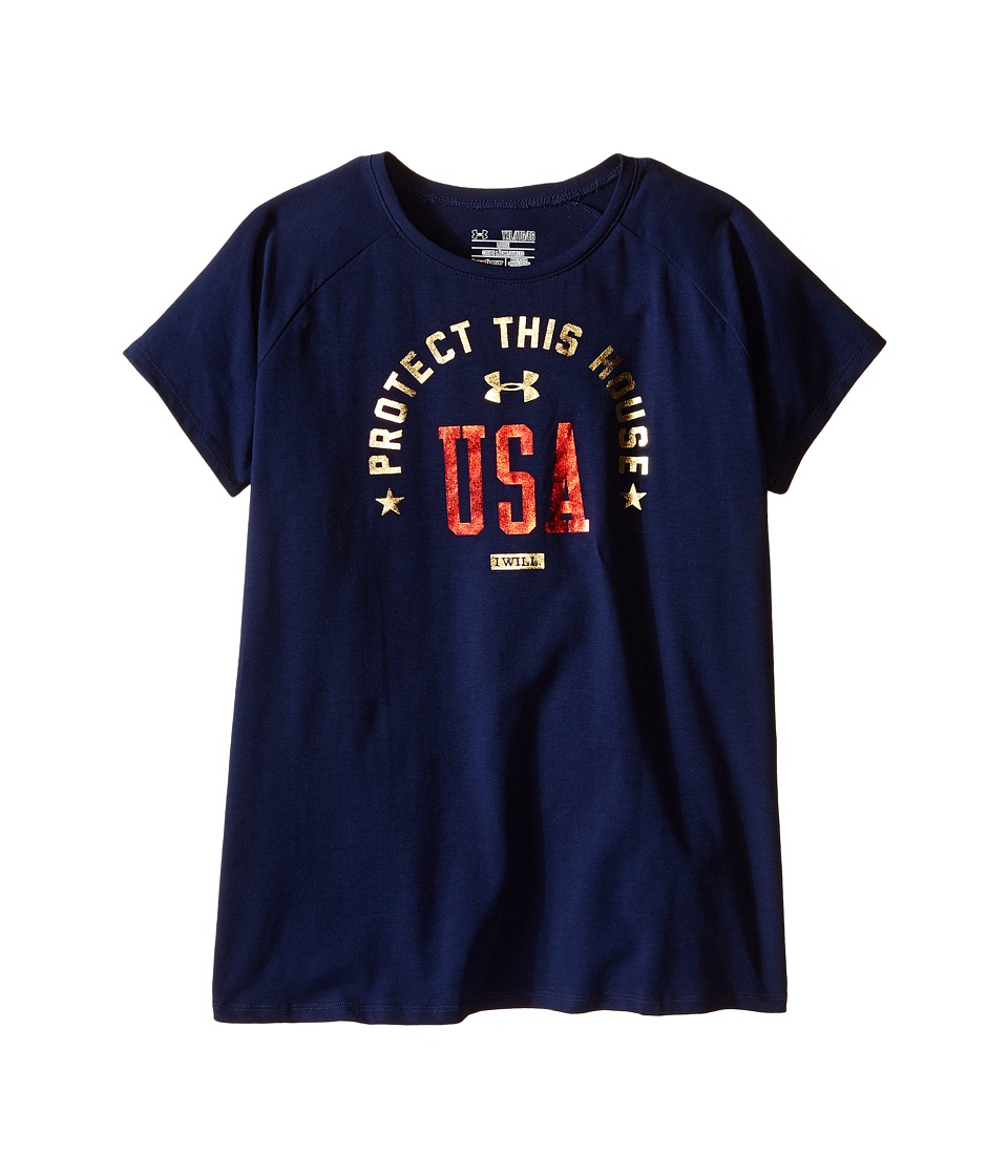Under Armour Kids - USA Short Sleeve Tee (Big Kids) (Navy Seal/Red) Girl's T Shirt