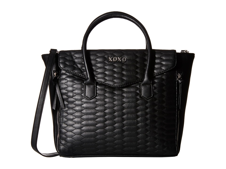 XOXO - Snake Quilted Tote (Black) Tote Handbags