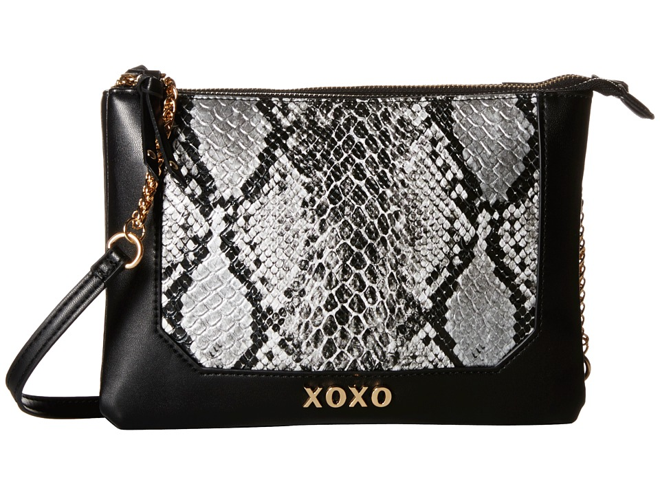 XOXO - Snake Double Gusset Crossbody (Black) Cross Body Handbags