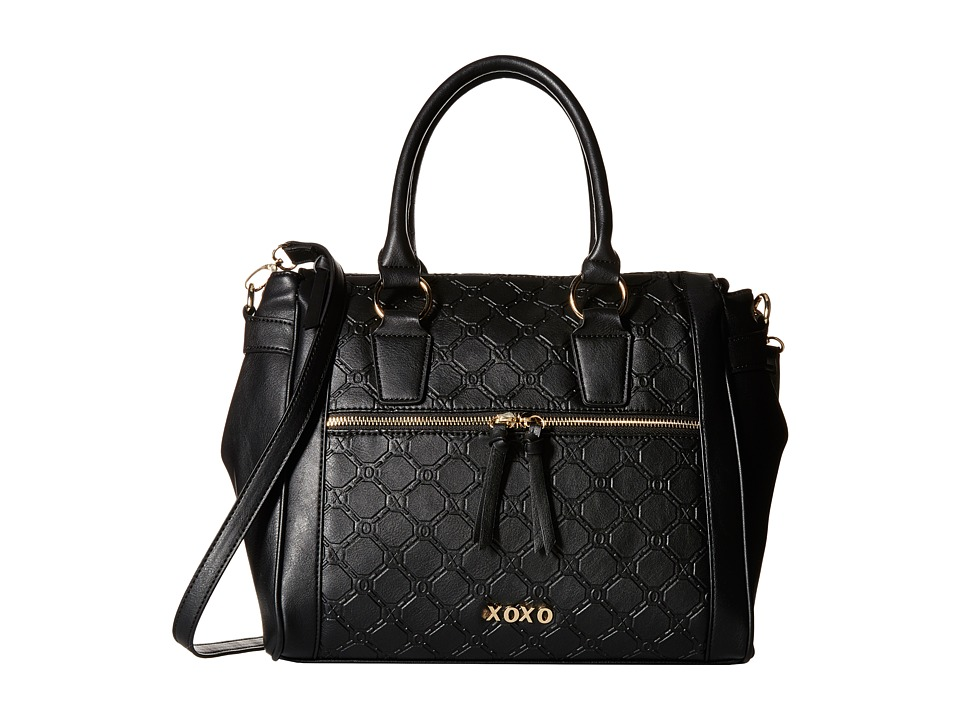XOXO - Logo Embossed Satchel (Black) Satchel Handbags