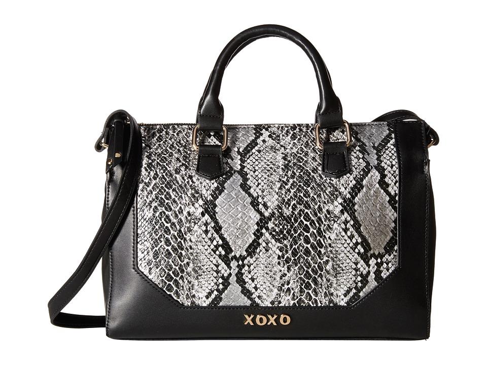 XOXO - Snake Satchel (Black) Satchel Handbags