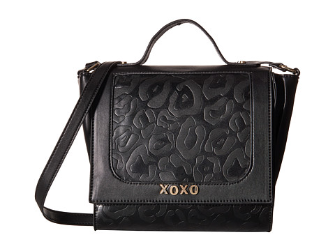 XOXO - Animal Embossed Flap Over Crossbody (Black) Cross Body Handbags
