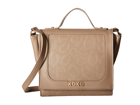 XOXO - Animal Embossed Flap Over Crossbody (Taupe) Cross Body Handbags