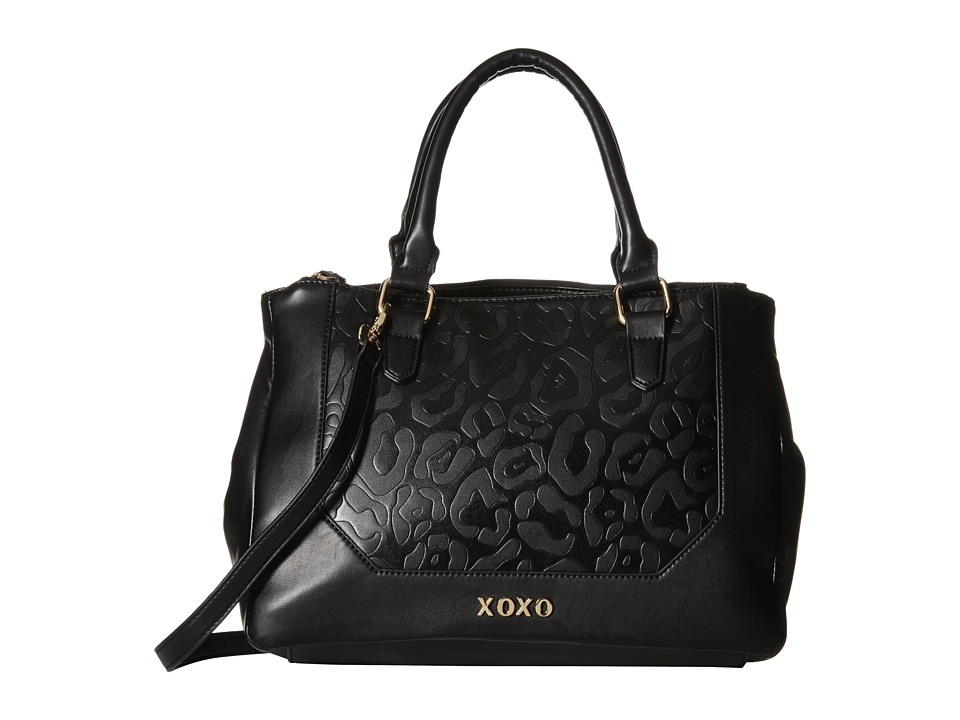 XOXO - Animal Embossed Double Zip Satchel (Black) Satchel Handbags