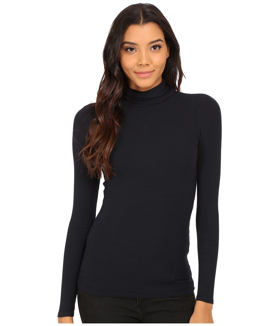 Three Dots - 2x1 Viscose L/S Turtleneck (Thunder) Women's Long Sleeve Pullover