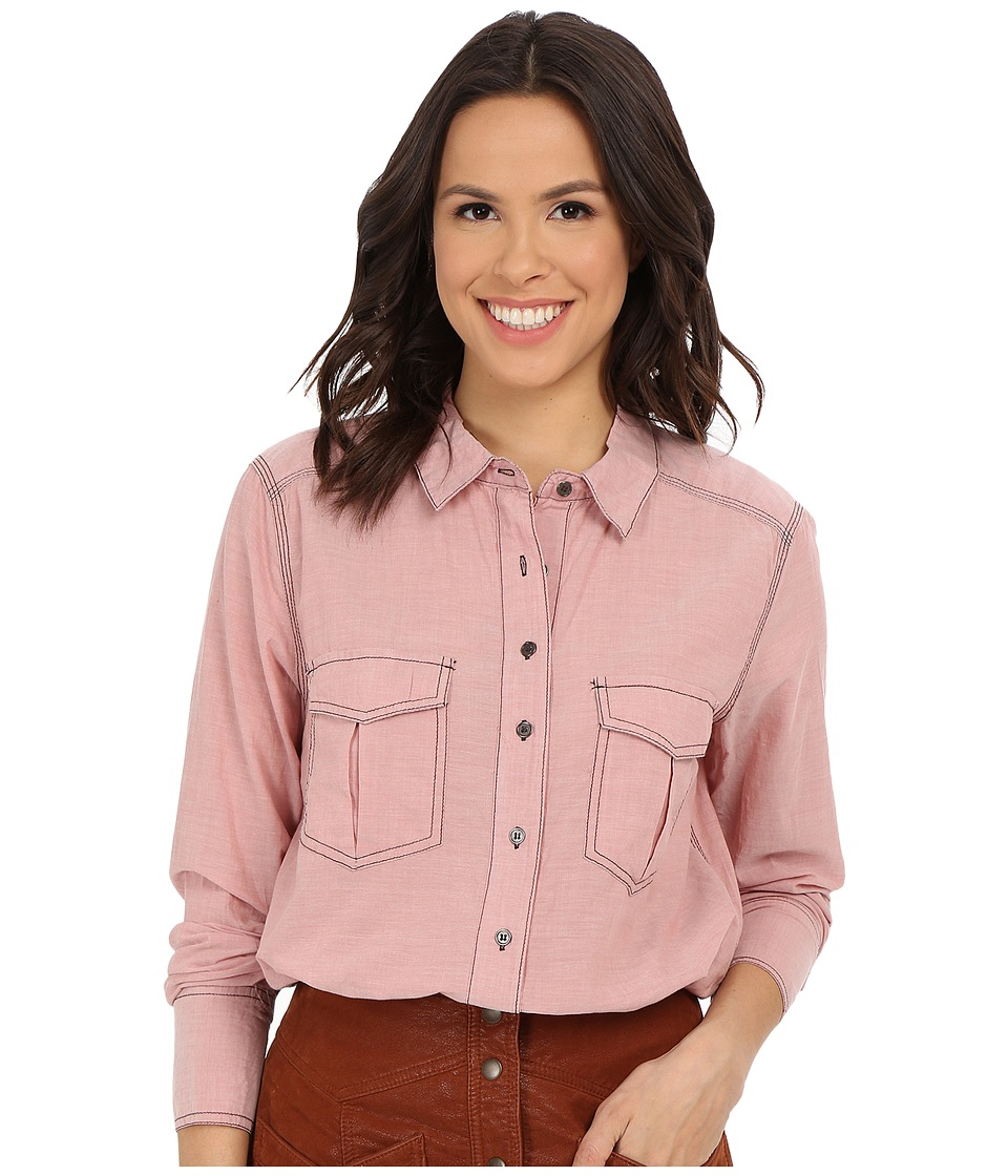 Free People - Last Chance Button Down (Turkish Coffee) Women's Long Sleeve Button Up