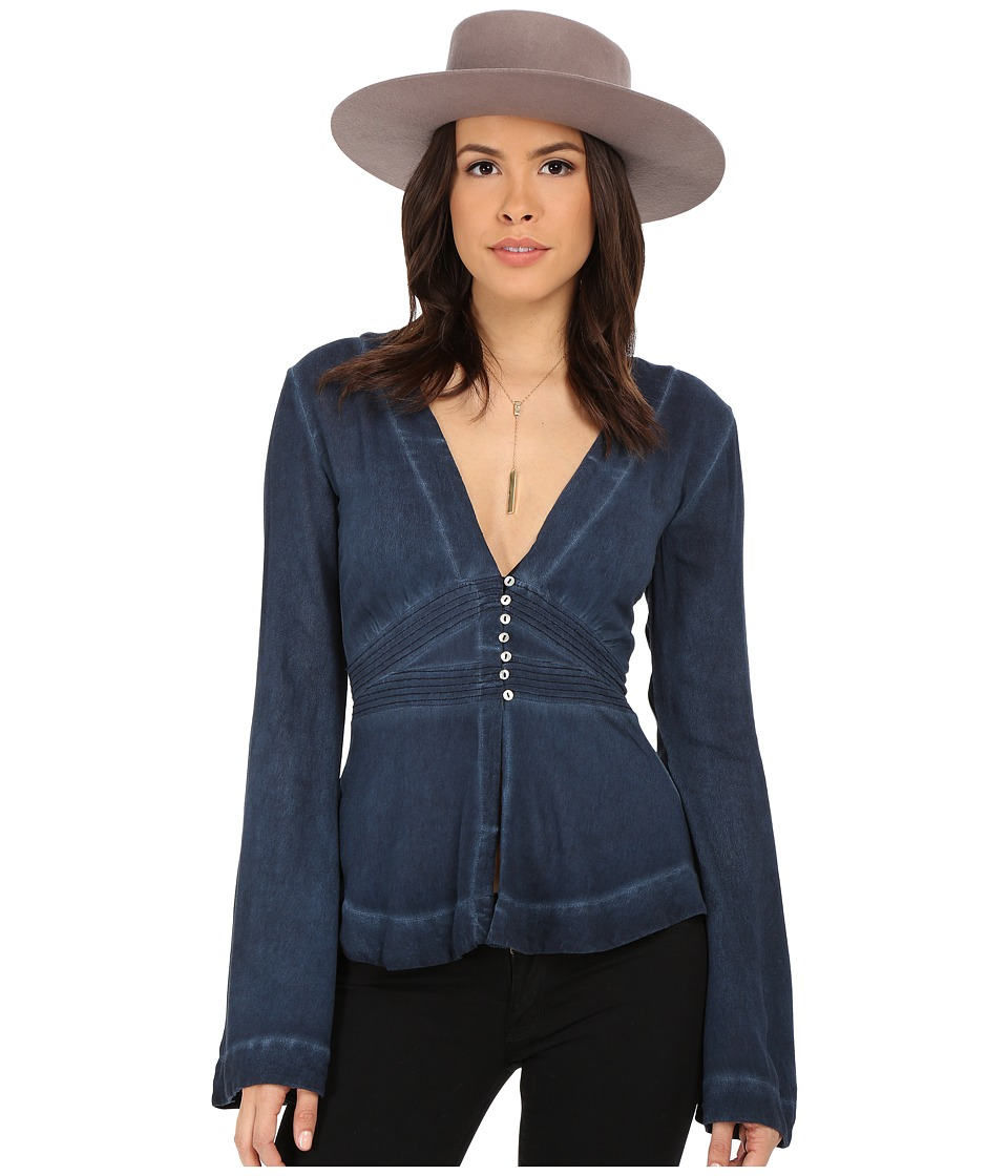 Free People - Boho Sleeve Blouse (Deep Indigo) Women
